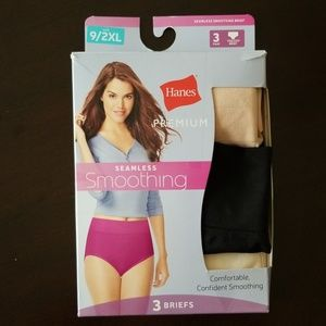 Hanes Premium Smoothing Seamless 3 pk Briefs Sz 9